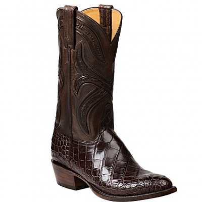 MENS FORDE AMERICAN ALLIGATOR BOOT IN CHOCOLATE