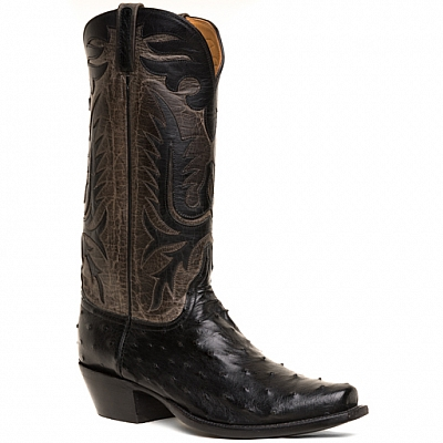MENS PIN OSTRICH BOOTS IN BLACK AND GREY