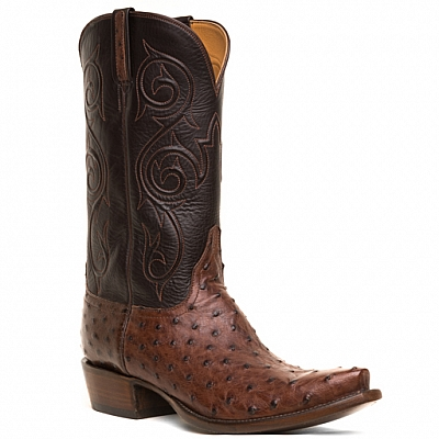 MENS PIN OSTRICH BOOTS IN SIENNA AND CHOCOLATE