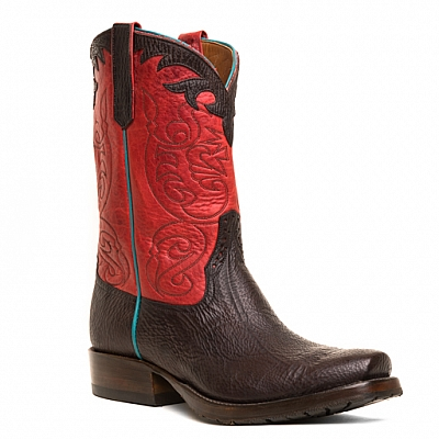MENS SHARK SKIN BOOTS IN CHOCOLATE AND RED