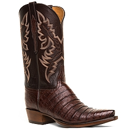 MENS ULTRA BELLY CAIMAN CROCODILE BOOTS IN BARREL BROWN