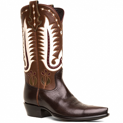 MENS WESTERN VINTAGE INLAY BOOTS IN BROWN