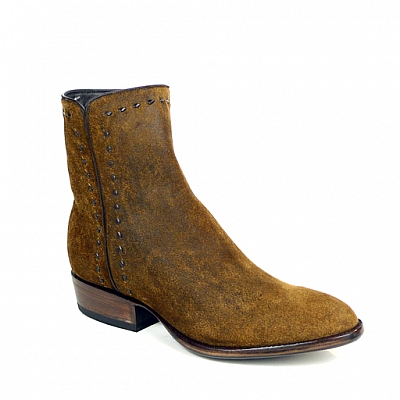 MENS ZORRO ZIP BOOTS IN VINTAGE CAMEL SUEDE ROUND TOE