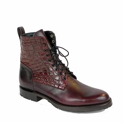 NEW LIAM GIANT ALLIGATOR & CORDOVAN LACE UP BOOT