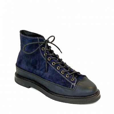 PACIFICA BLUE SUEDE RUBBER SOLE LACE UP HIGH TOP