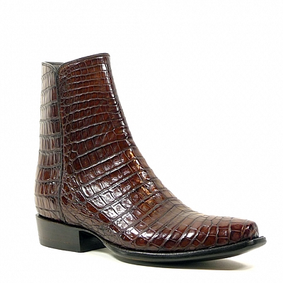 CAIMAN CROCODILE ZORRO SHORT ZIP BOOTS IN SIENNA BROWN