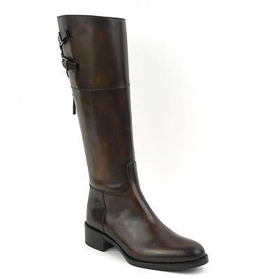 ELISE EBANO TALL REAR BUCKLE RIDING BOOT