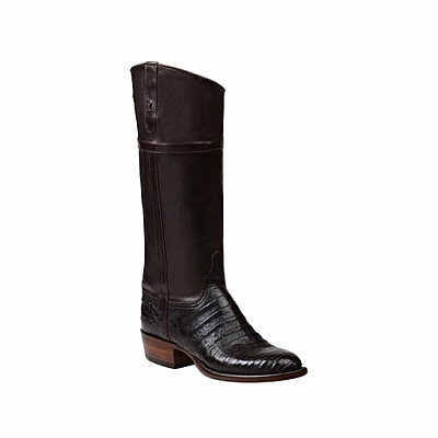 LONDON CAVALRY STYLE CHOCOLATE BELLY CAIMAN BOOTS