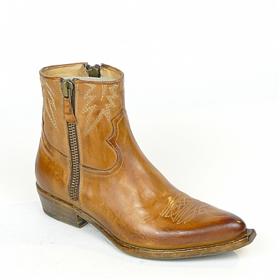 MAPLE DODGE DOUBLE ZIP CUOIO SHORT BOOT IN CAMEL