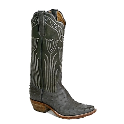 RIOS WOMEN'S ANTHRACITE OSTRICH GREEN TULIP BOOTS