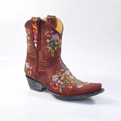 SORA VESUVIO RED EMBROIDERED BOOT