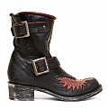 WOMENS BIKER IRON EAGLE SHORT BOOTS IN BLACK
