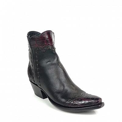WOMENS BLACK RANCH BLACK CHERRY ALLIGATOR ZORRO