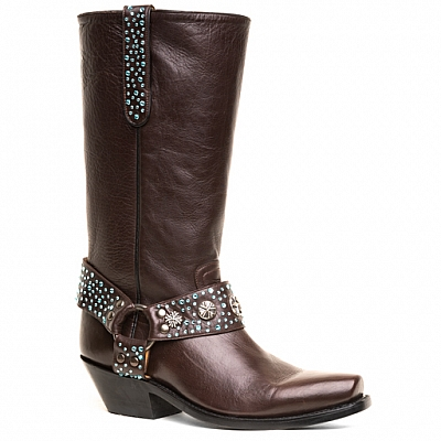WOMENS BLING BIKER BOOTS IN CHOCOLATE