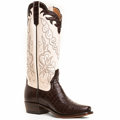 ANNIE WOMENS CROCODILE BELLY BOOTS IN CHOCOLATE AND IVORY