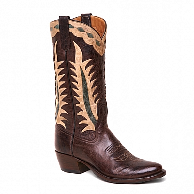 WOMENS MAD CAT INLAY BOOTS IN CHOCOLATE