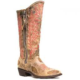 WOMENS RAZZ BOOTS IN TAN AND RED