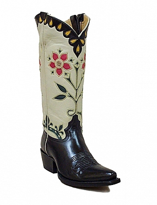 WOMENS ROSE & CROWN BOOTS IN BLACK AND ECRU