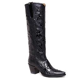 WOMENS TALL  COWGIRL BOOTS IN BLACK AND BLACK PATENT