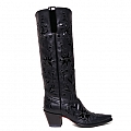 WOMENS TALL 60'S COWGIRL BOOTS IN BLACK