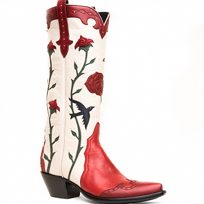 WOMENS TITA'S BLUEBIRDS BOOTS IN RED AND WHITE