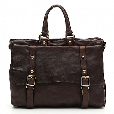 TOKIO BUCKLE FRONT HANDLED LEATHER BRIEFCASE IN MORO