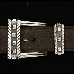 "THREE PIECE  1 1/2"" STERLING BUCKLE SET WITH SPOTS"