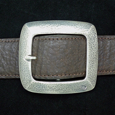 "1.5"" STERLING SILVER HAMMERED GARRISON BUCKLE"