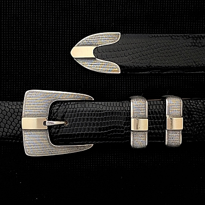 CLAY 1704 STERLING WRIGGLE GOLD BAR BUCKLE SET