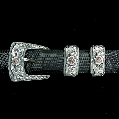 CLAY 1846 STERLING OVERLAY BUCKLE SET WITH GARNETS