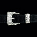 CLINT ORMS CLAY 1816 ENGRAVED THREE PIECE STERLING SILVER BUCKLE SET