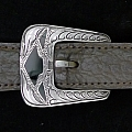"OLD ARROW 1"" ONYX FEATHER ENGRAVED BUCKLE SET"