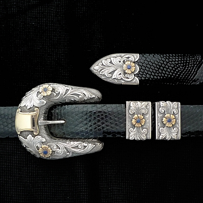 "PECOS 1"" BUCKLE SET STERLING OVERLAY FLOWERS SET WITH 5 3.25 MM SAPPHIRES"