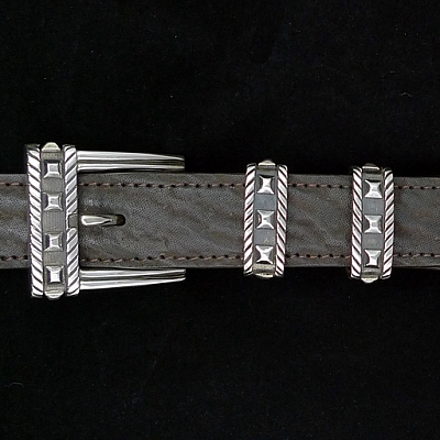 "STERLING SILVER SPOTTED 1"" BUCKLE SET"