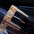 TAYLOR 14 KARAT GOLD THREE PIECE ENGRAVED BUCKLE SET WITH 59 WHITE DIAMONDS