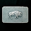 BISON RECTANGULAR TROPHY BUCKLE ON WHEATGRASS BACKGROUND
