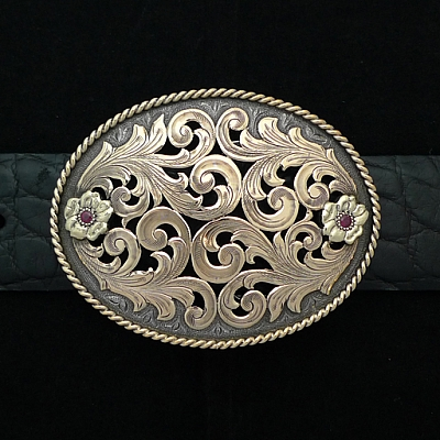 BROOKS 1813 STERLING SILVER FILIGREE BUCKLE WITH 14K OVERLAY SCROLLS, RUBIES AND ROPE EDGE