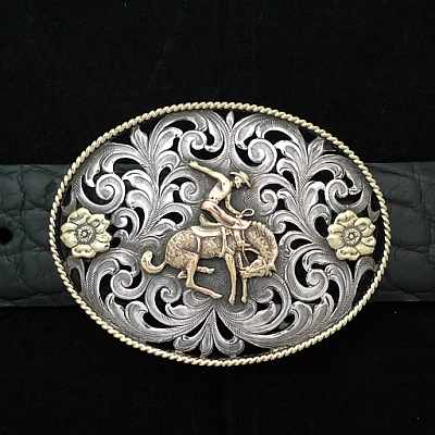 BROOKS 1814 STERLING SILVER FILIGREE TROPHY WITH 14K YELLOW AND ROSE GOLD BRONC AND FLOWERS