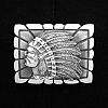 CHIEF IN PROFILE SET IN RECTANGULAR FRAME STERLING SILVER BELT BUCKLE
