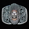 CHIEF JOSEPH 14K ROSE GOLD TRIM TANZANITE EYE FILIGREE TROPHY BUCKLE