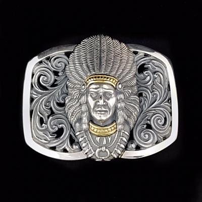 CHIEF JOSEPH 18K TRIM FILIGREE TROPHY BUCKLE