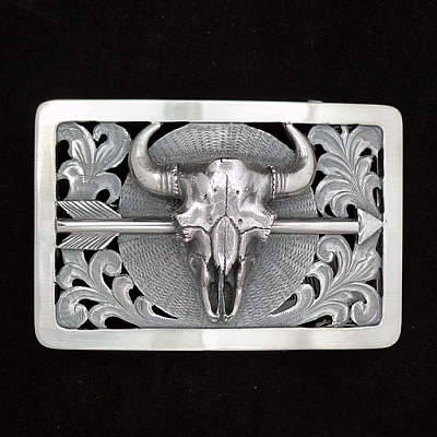CHILDRESS 1804 FILIGREE 3X2 STERLING TROPHY WITH BISON SKULL, SS ARROW, ENGRAVED