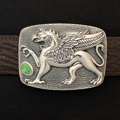 GRIFFIN STERLING TROPHY BUCKLE WITH TURQUOISE AND RUBY EYE