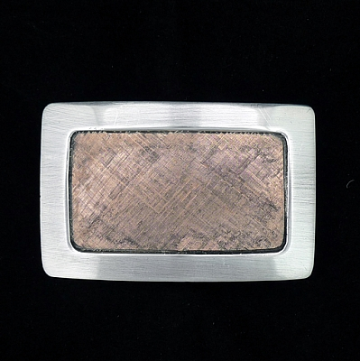 HAND MADE RECTANGLE STERLING BUCKLE WITH 14K ROSE GOLD CENTER