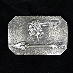 HEAVY GAUGE PONTIAC INDIAN AND ARROW STERLING TROPHY BUCKLE