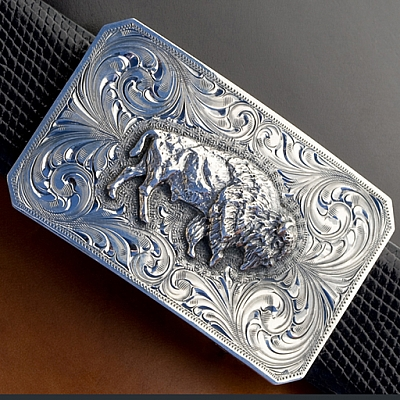 JASPER 1800 AMERICAN BISON RECTANGULAR ENGRAVED TROPHY BUCKLE