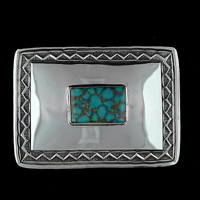 KINGMAN CENTER TURQUOISE SMOOTH TROPHY BUCKLE