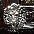 LION 4PC STERLING BUCKLE SET WITH SPESSARTITE EYES