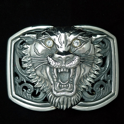 STERLING SILVER TIGER HEAD TROPHY BUCKLE WITH WHITE TOPAZ EYES