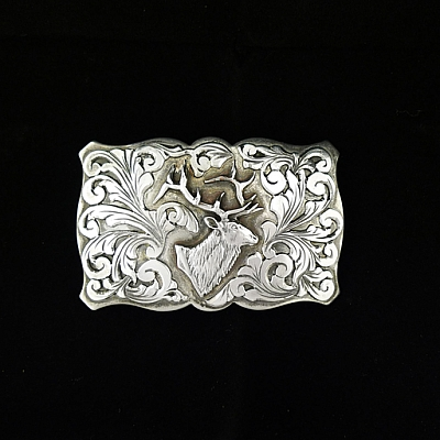 LONESTAR ELK SCALLOPED TROPHY BUCKLE